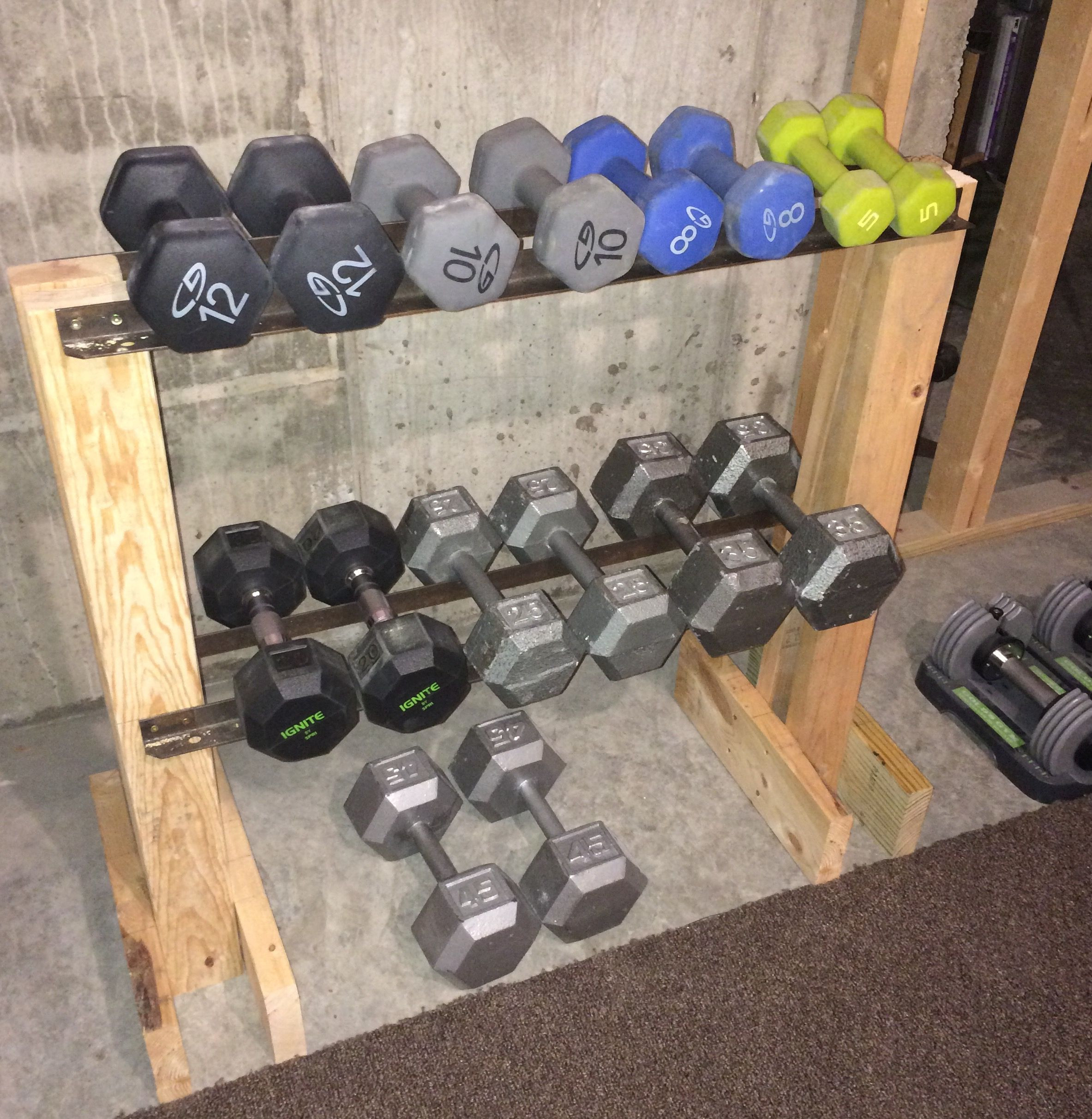 Best ideas about DIY Dumbbell Rack . Save or Pin DIY Dumbbell Rack I made this from scrap lumber and the Now.