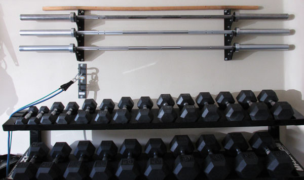 Best ideas about DIY Dumbbell Rack . Save or Pin Space Saving DIY Barbell Rack Bar Storage Now.