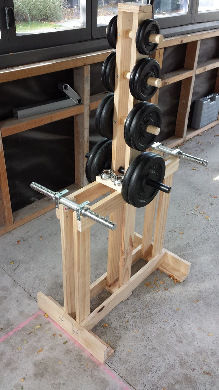 Best ideas about DIY Dumbbell Rack . Save or Pin Wooden Dumbbell Rack Wood dumbbell tree stand Now.