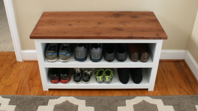 Best ideas about DIY Entryway Bench With Shoe Storage . Save or Pin DIY Adjustable Shoe Storage Bench Now.