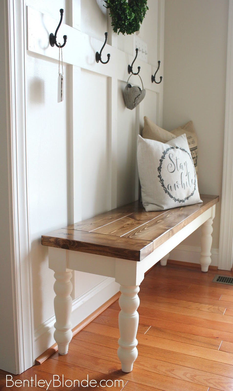 Best ideas about DIY Farmhouse Bench . Save or Pin BentleyBlonde DIY Farmhouse Bench Tutorial Now.