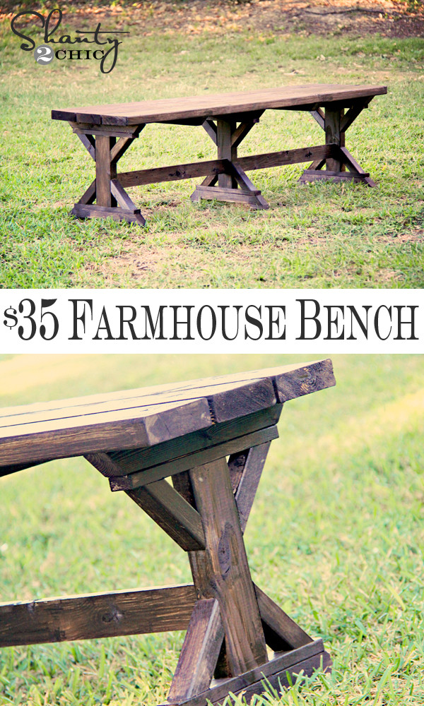 Best ideas about DIY Farmhouse Bench . Save or Pin DIY Bench Farmhouse Style Shanty 2 Chic Now.