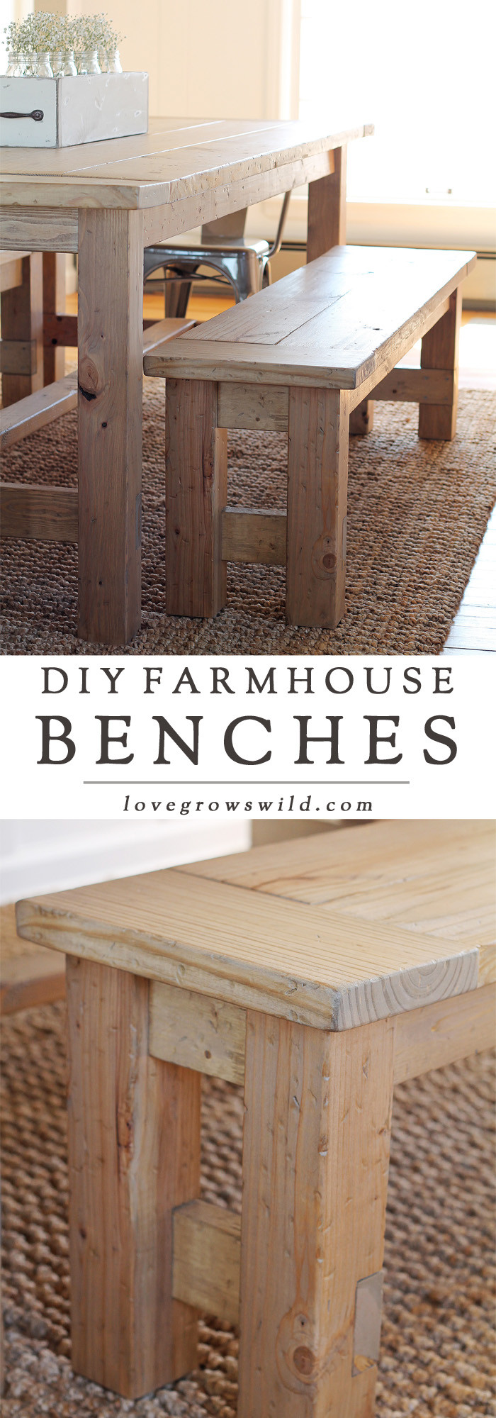 Best ideas about DIY Farmhouse Bench . Save or Pin DIY Farmhouse Bench Love Grows Wild Now.