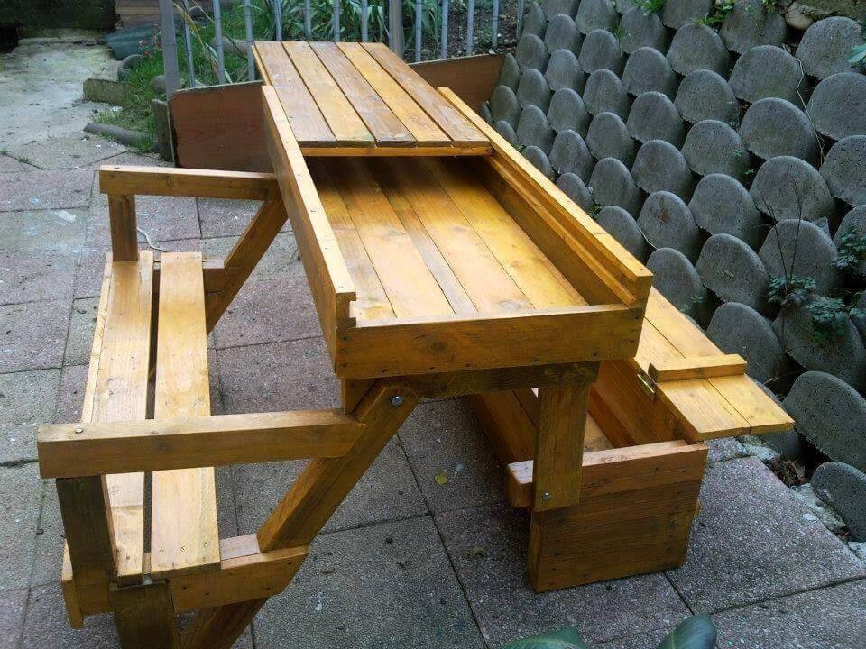 Best ideas about DIY Folding Picnic Table . Save or Pin DIY Pallet Folding Bench Storage Space Now.