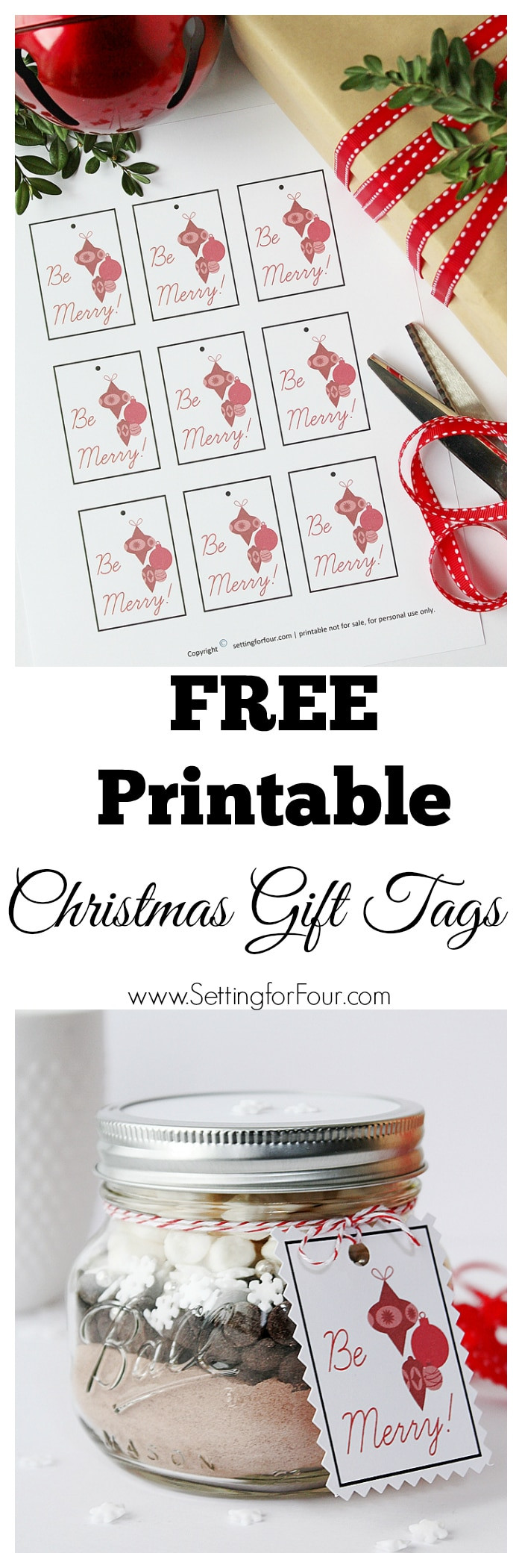 Best ideas about DIY Gift Tags Free Printable . Save or Pin Free Printable Christmas Gift Tags Setting for Four Now.