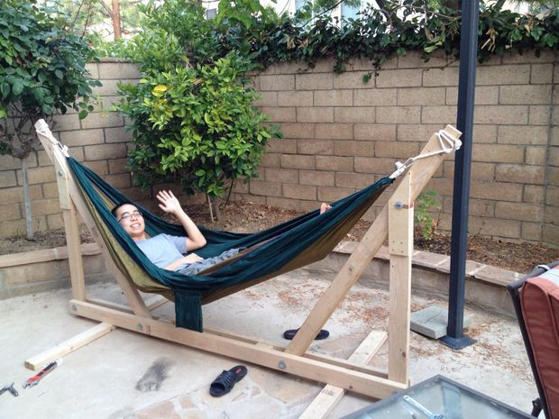 Best ideas about DIY Hammock Stand Plans . Save or Pin DIY Wooden Hammock Stand 6 Steps with Now.