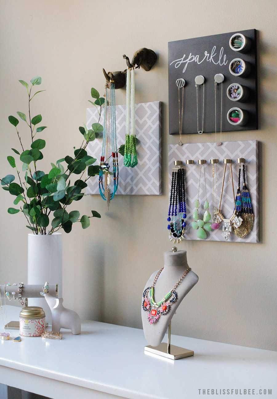 Best ideas about DIY Hanger Organizer . Save or Pin DIY Hanging Jewelry Organizer – THE BLISSFUL BEE Now.