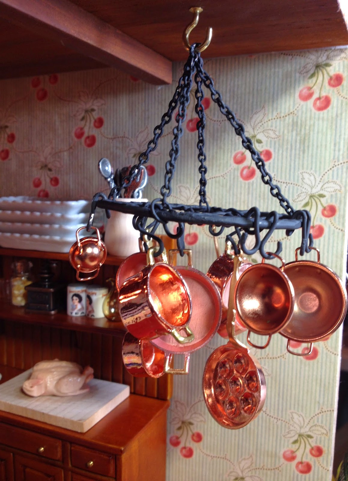 Best ideas about DIY Hanging Pot Racks . Save or Pin Jocelyn s Mountfield Dollhouse DIY Hanging Metal Pot Rack Now.