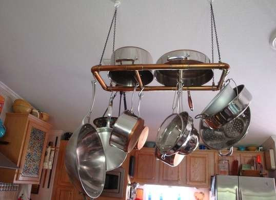 Best ideas about DIY Hanging Pot Racks . Save or Pin DIY Hanging Pot Rack Kitchen Storage Ideas for Pots Now.