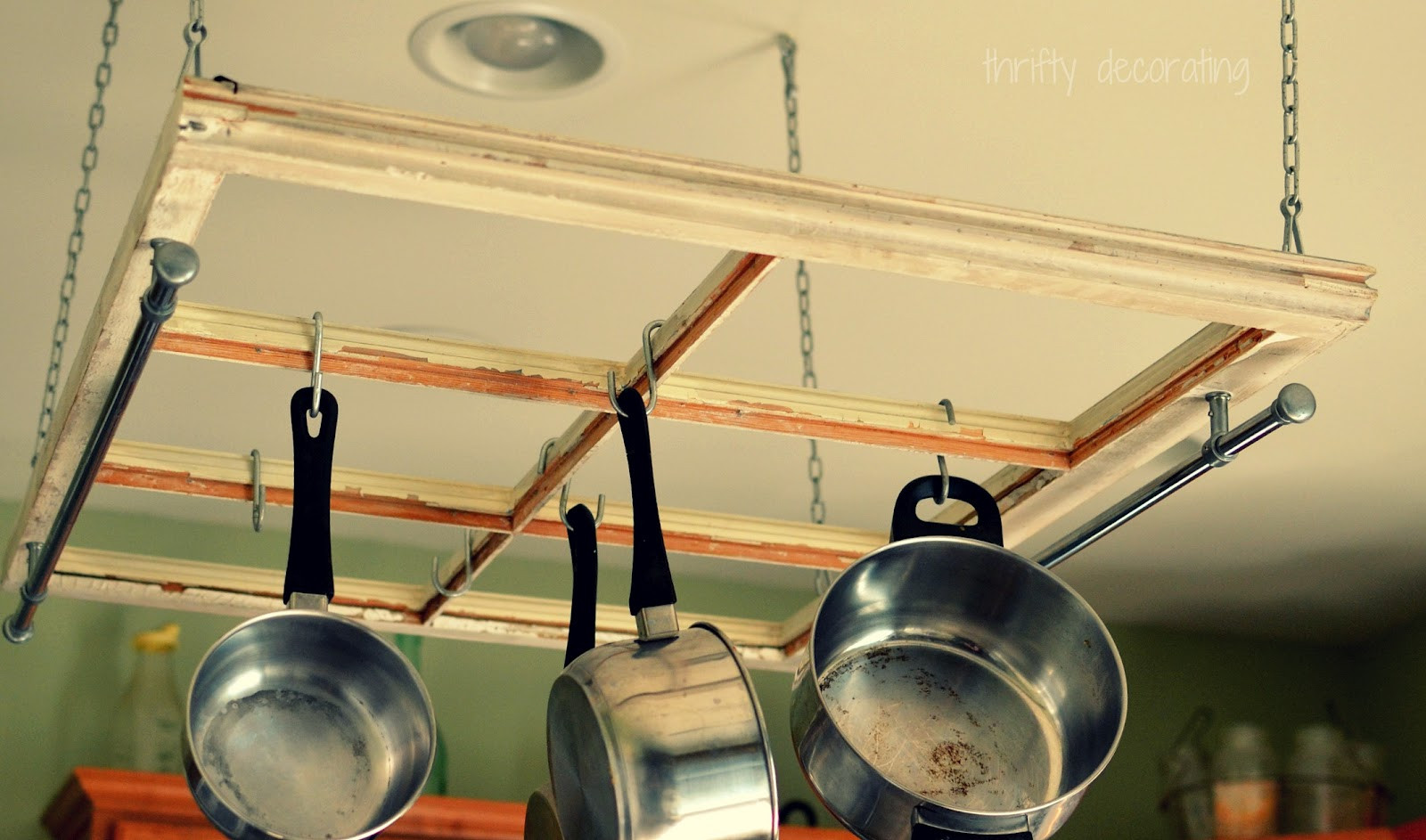 Best ideas about DIY Hanging Pot Racks . Save or Pin DIY Old Window Pot Rack The 36th AVENUE Now.