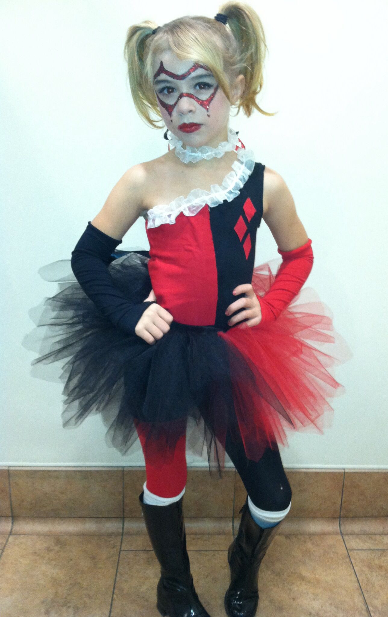 Best ideas about DIY Harley Quinn Costume For Kids . Save or Pin Harley Quinn costume handmade no pattern sorry Now.
