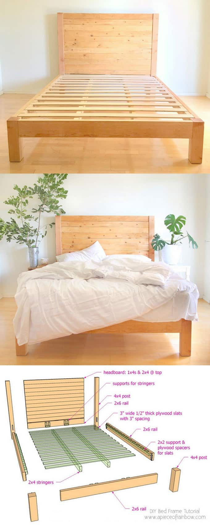 Best ideas about DIY Headboards For Queen Beds . Save or Pin DIY Bed Frame and Wood Headboard Now.
