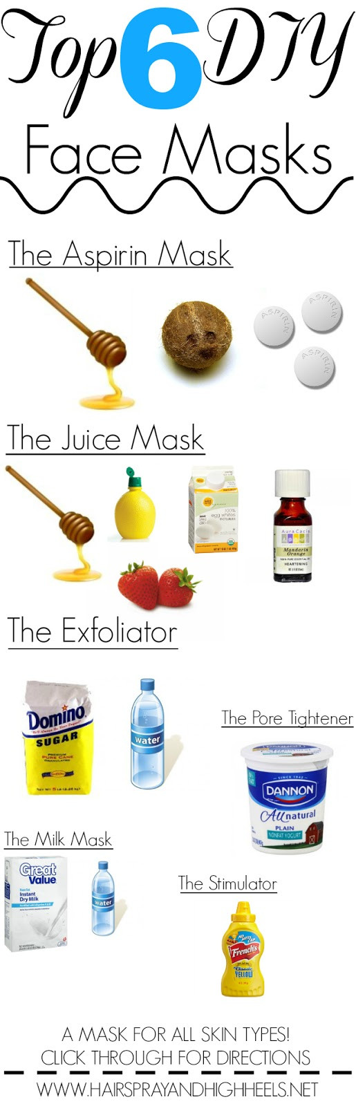 Best ideas about DIY Homemade Face Masks . Save or Pin 6 DIY Face Masks All Skin Types Hairspray and Highheels Now.