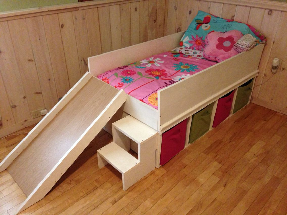Best ideas about DIY Kids Bed With Storage . Save or Pin DIY toddler bed with slide and toy storage Now.