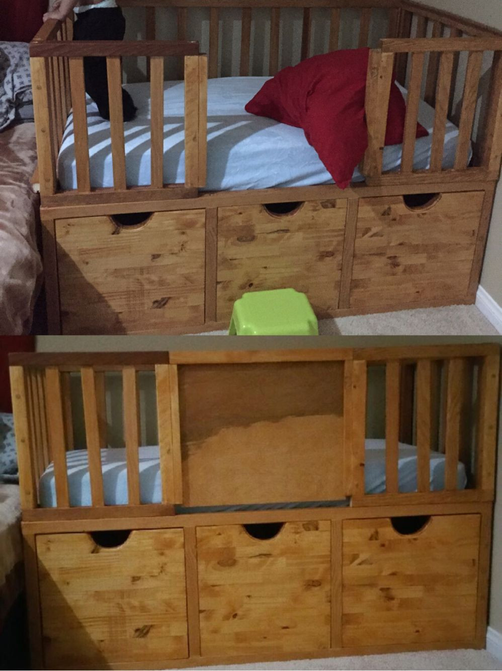 Best ideas about DIY Kids Bed With Storage . Save or Pin DIY toddler bed with storage and a slide in door for Now.