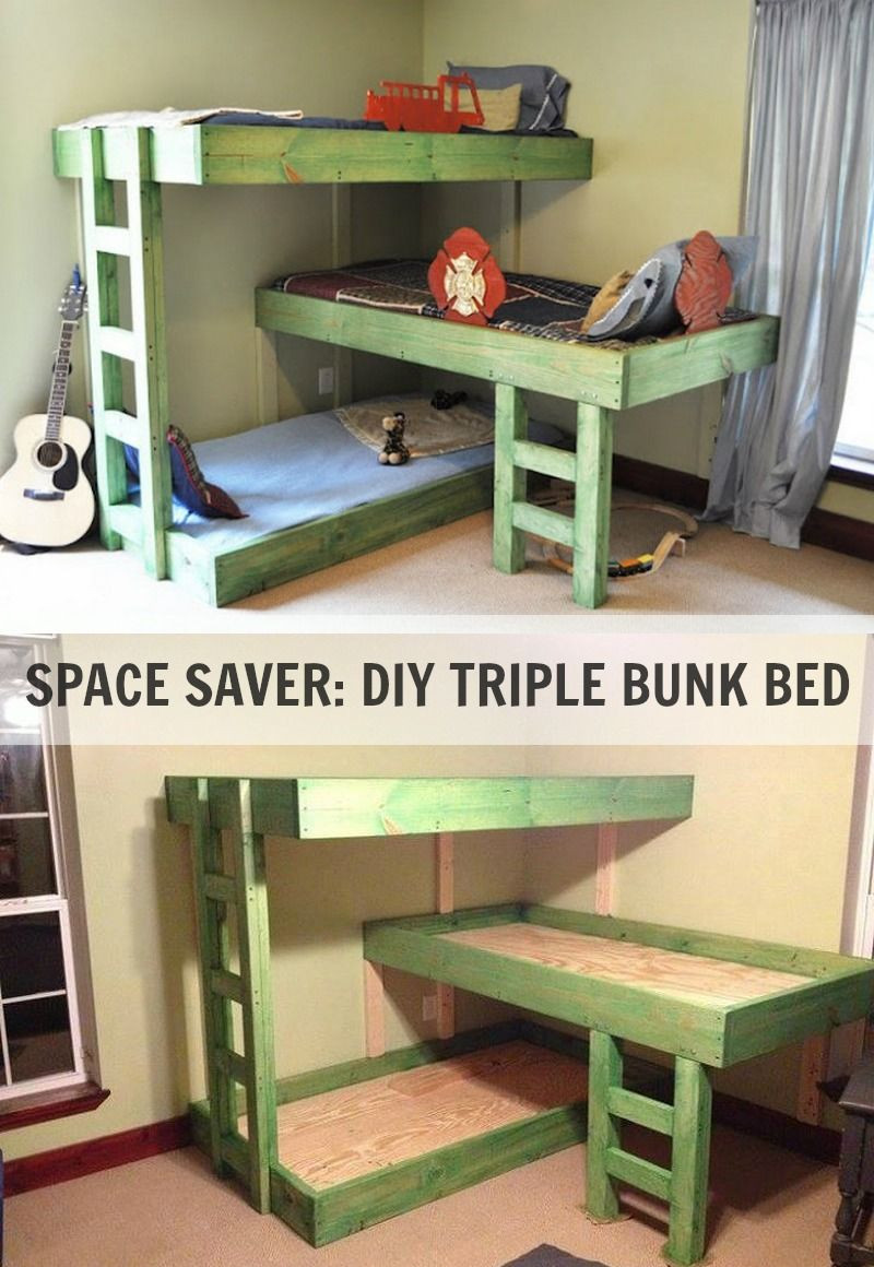 Best ideas about DIY Kids Bunk Bed . Save or Pin SPACE SAVER DIY TRIPLE BUNK BED Now.