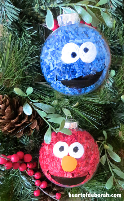 Best ideas about DIY Kids Christmas Ornaments . Save or Pin Kid Made Ornaments Inspired by Sesame Street Heart of Now.