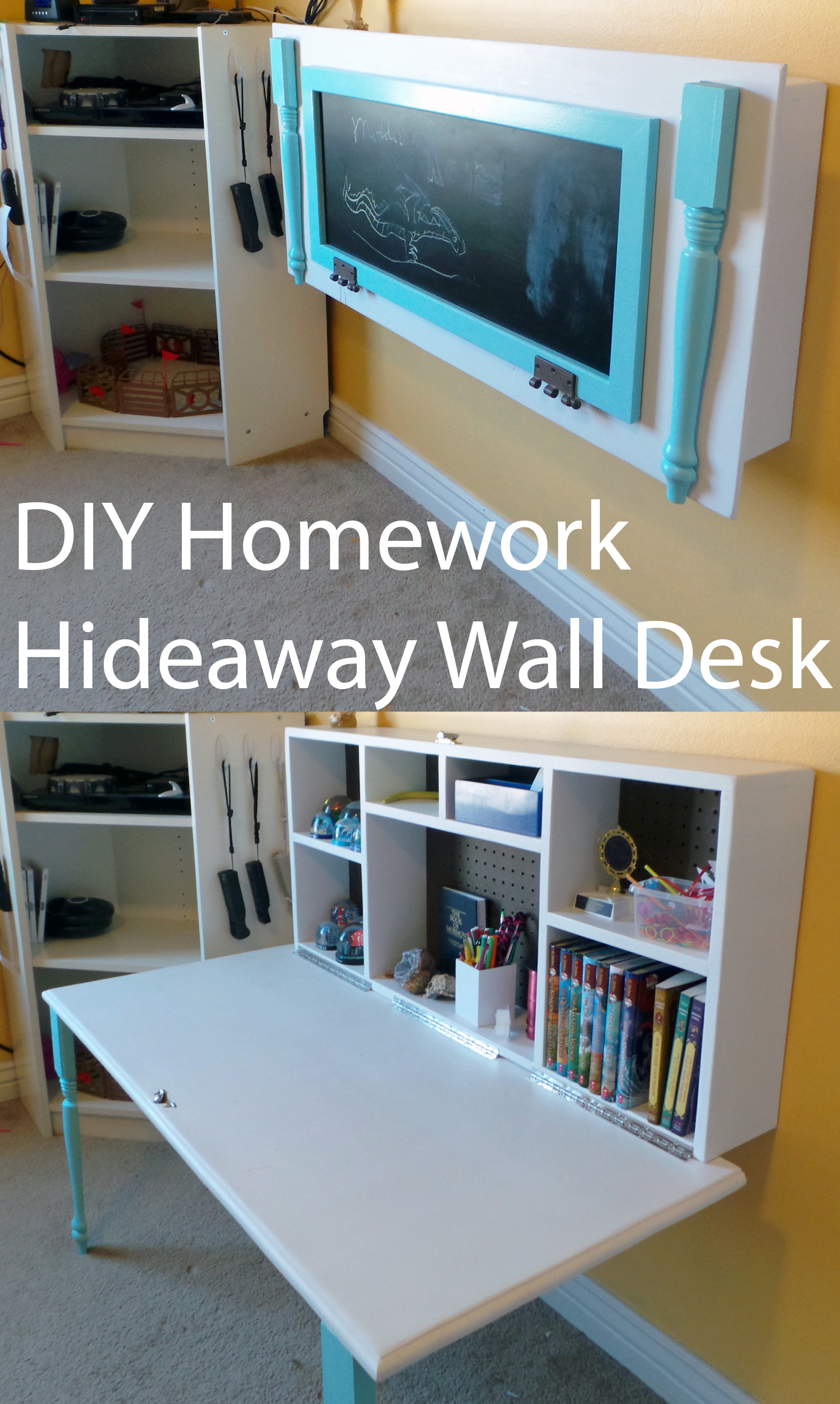 Best ideas about DIY Kids Desks . Save or Pin DIY Kids Homework Hideaway Wall Desk The Organized Mom Now.
