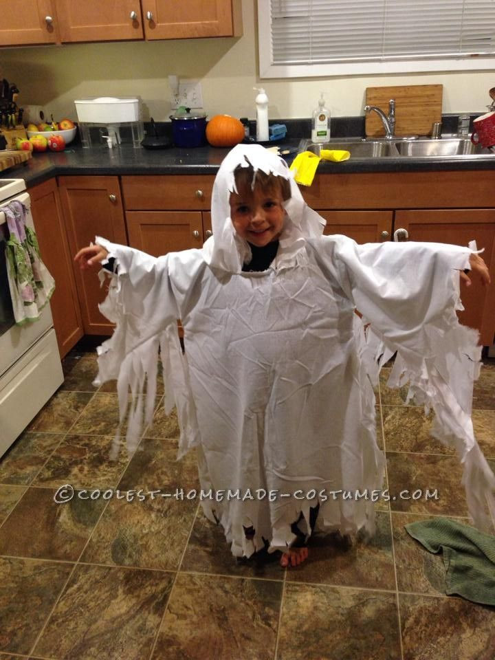 Best ideas about DIY Kids Ghost Costume . Save or Pin Easy Ghost Costume with a Hood for a Child Now.