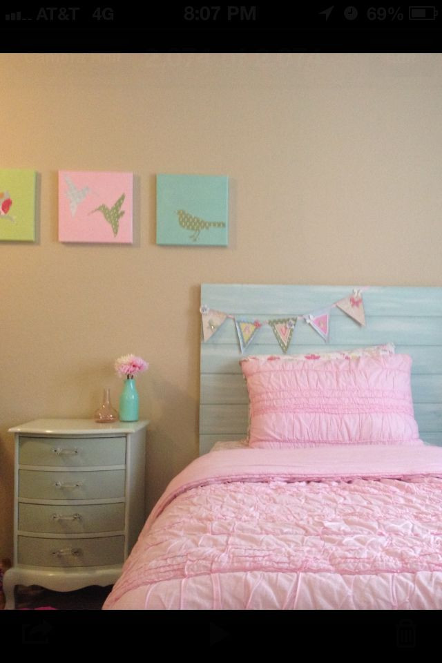 Best ideas about DIY Kids Headboard . Save or Pin My DIY girls room Headboard artwork nightstand and banner Now.