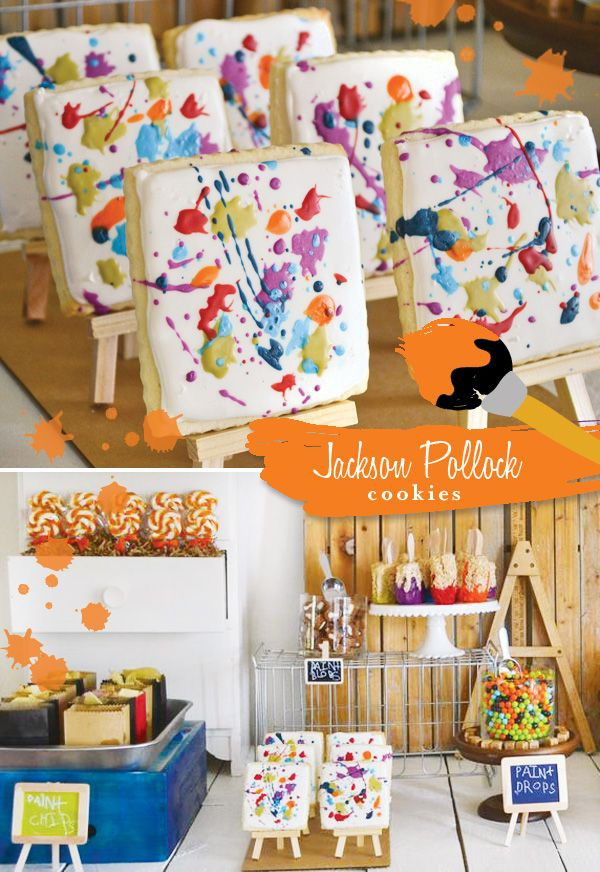 """Best ideas about DIY Kids Painting Party . Save or Pin Favorite Detail """"Jackson Pollock"""" Painted Canvas Cookies Now."""