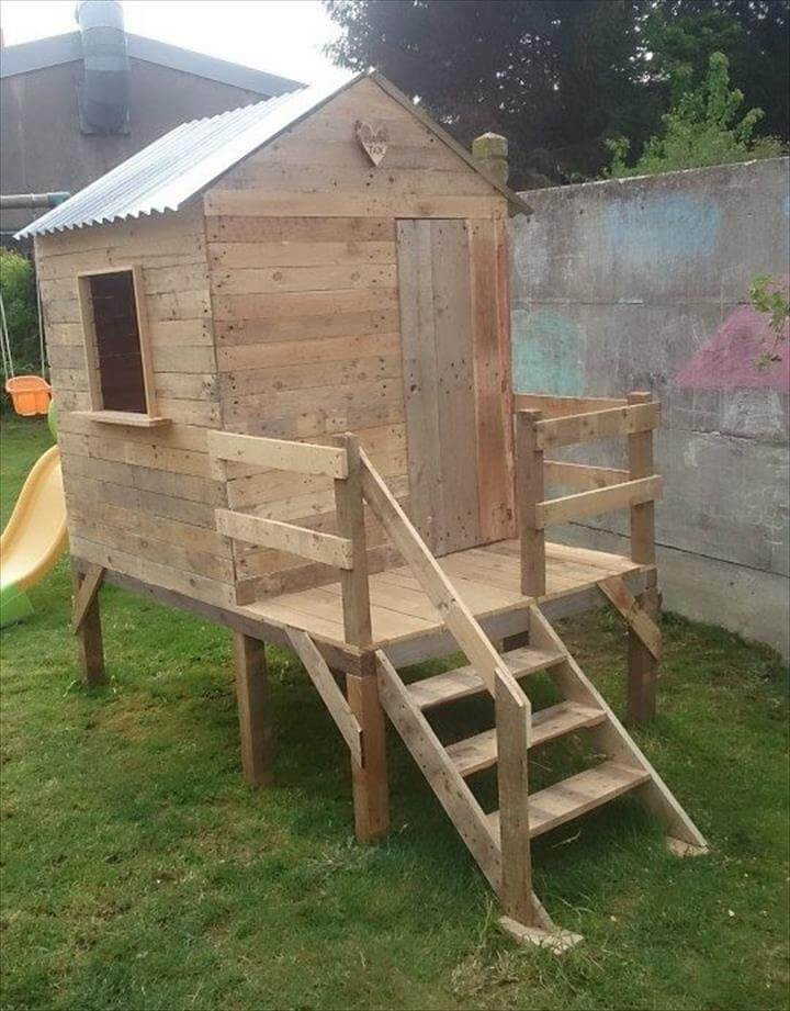 Best ideas about DIY Kids Playhouse . Save or Pin Pallet Playhouse for Kids Friendly Backyard Now.