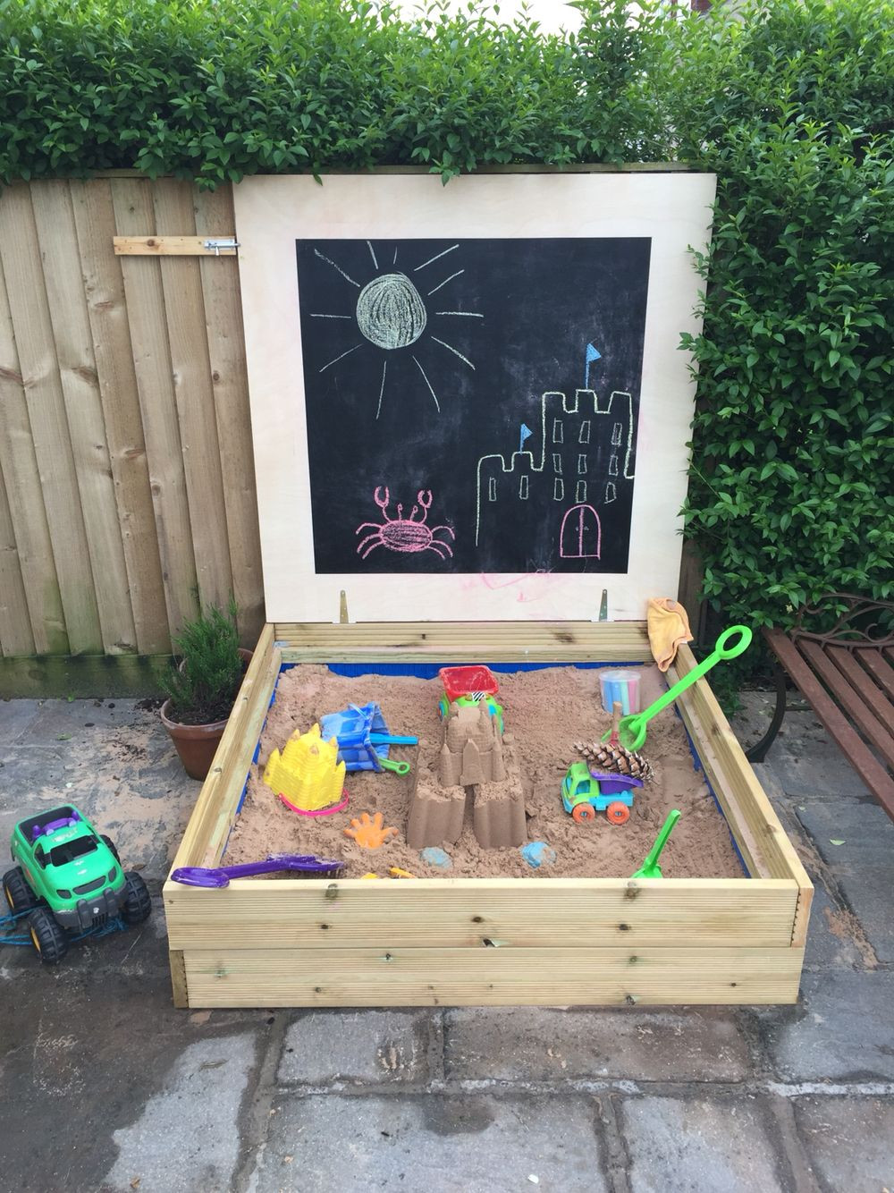 Best ideas about DIY Kids Sandbox . Save or Pin Homemade sandpit using decking board and a blackboard lid Now.