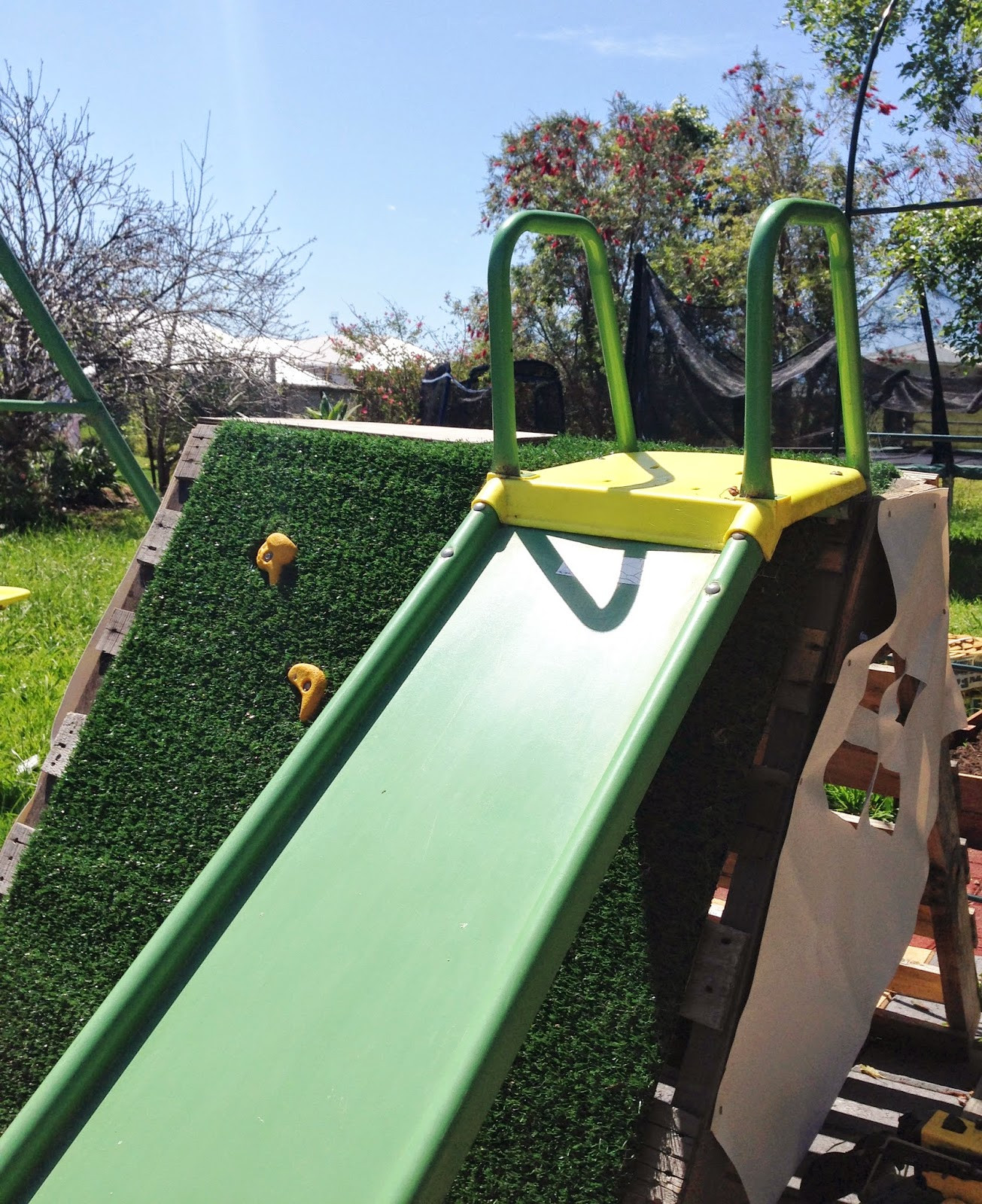 Best ideas about DIY Kids Slide . Save or Pin Adventures at home with Mum DIY Pallet Rockwall Climbing Now.
