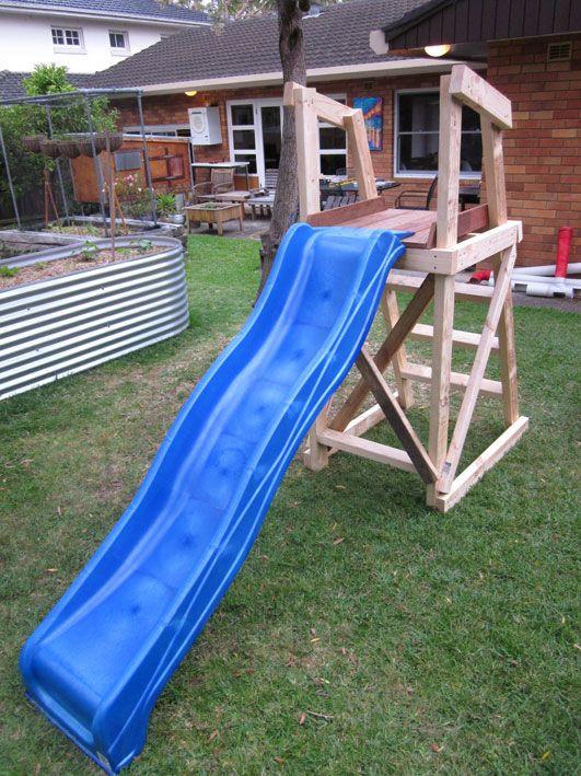Best ideas about DIY Kids Slide . Save or Pin Plans for building a platform for a DIY slide Now.