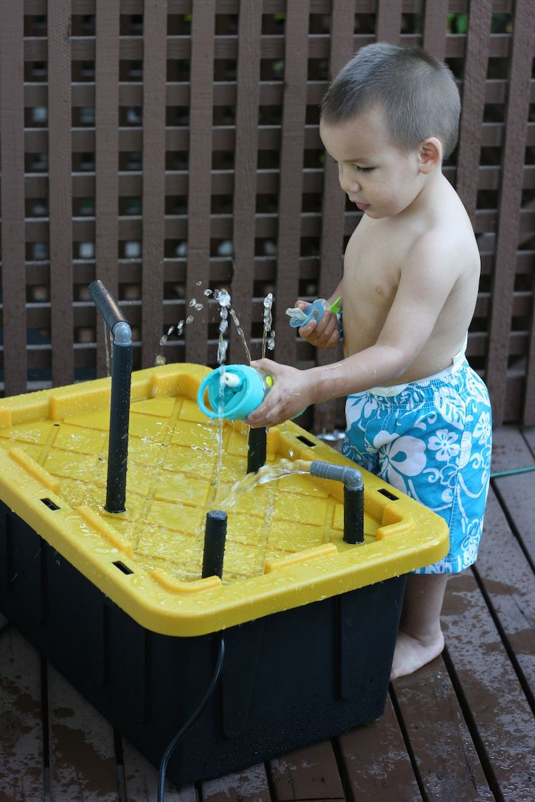 Best ideas about DIY Kids Water Table . Save or Pin DIY Water Spray Table Made from Plastic Storage Bin and Now.