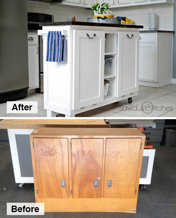 Best ideas about DIY Kitchen Island From Cabinets . Save or Pin DIY Kitchen Island made from a $5 garage sale cabinet Now.
