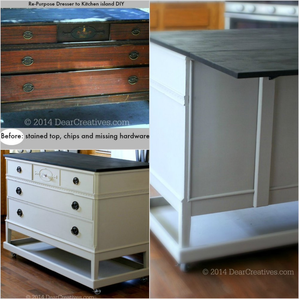Best ideas about DIY Kitchen Island From Dresser . Save or Pin Dresser To Kitchen Island Cart DIY With ChalkyFinish Now.