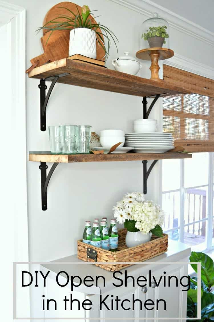 Best ideas about DIY Kitchen Shelves . Save or Pin DIY Barn Wood Shelves in the Kitchen for Under $50 Now.