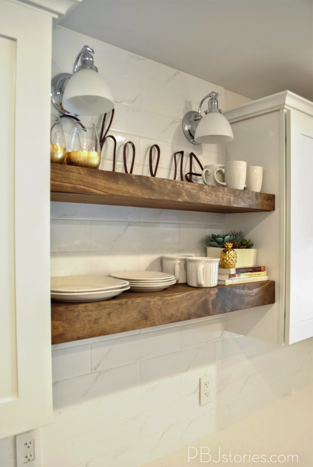 Best ideas about DIY Kitchen Shelves . Save or Pin PBJstories Our DIY Open Kitchen Shelves Now.