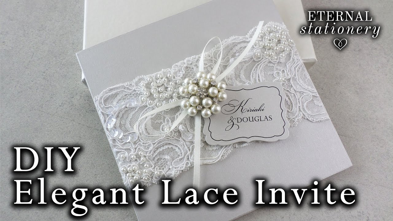 Best ideas about DIY Lace Wedding Invitations . Save or Pin Elegant beaded lace and brooch wedding invitation Now.