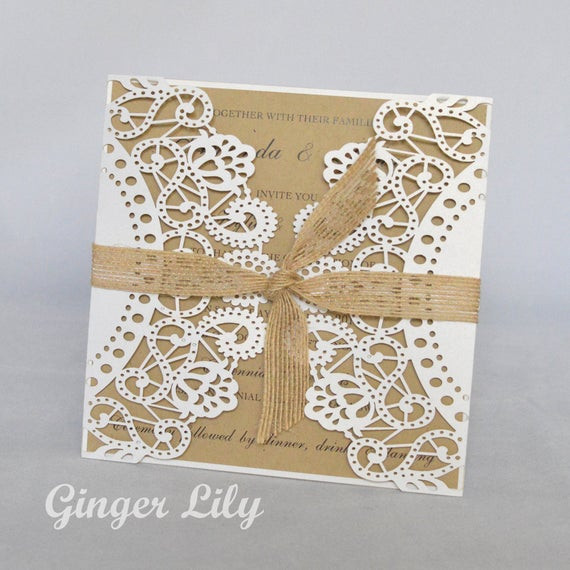 Best ideas about DIY Laser Cut Wedding Invitations . Save or Pin Rustic Laser Cut DIY Wedding Invitation Kit by Now.