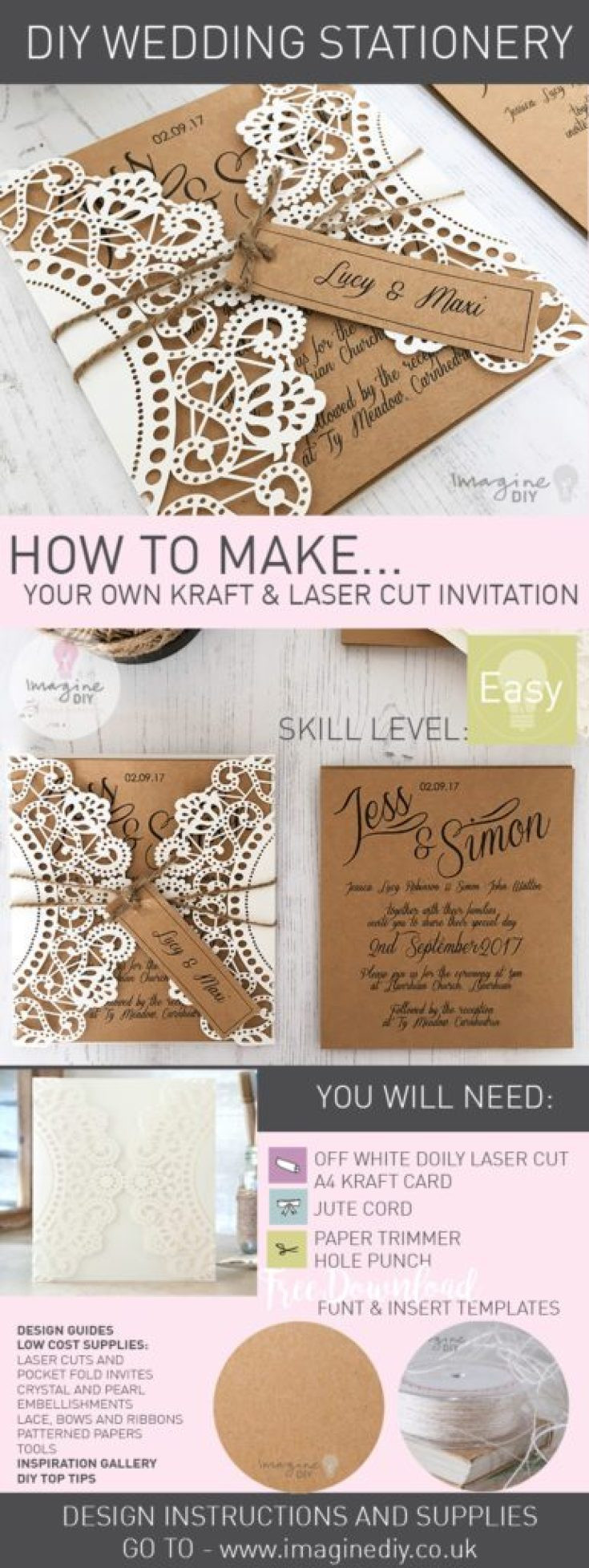 Best ideas about DIY Laser Cut Wedding Invitations . Save or Pin How to Make Rustic Kraft and Laser Cut Invitation with Now.