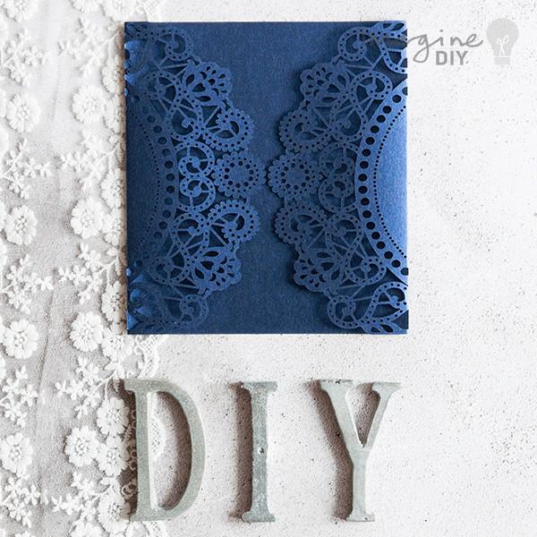 Best ideas about DIY Laser Cut Wedding Invitations . Save or Pin Doily Wedding Invitation Navy Imagine DIY Now.