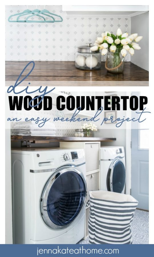 Best ideas about DIY Laundry Room Countertop . Save or Pin Laundry Room DIY Wood Countertop Jenna Kate at Home Now.