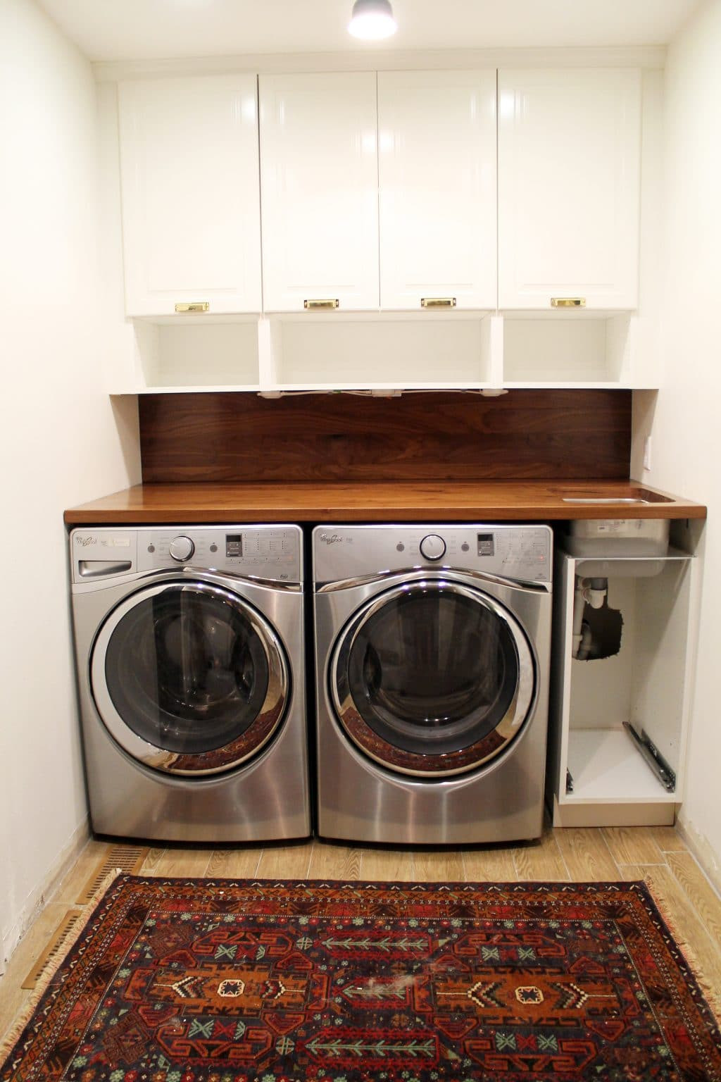 Best ideas about DIY Laundry Room Countertop . Save or Pin A Walnut Counter And Backsplash in the Laundry Room Now.