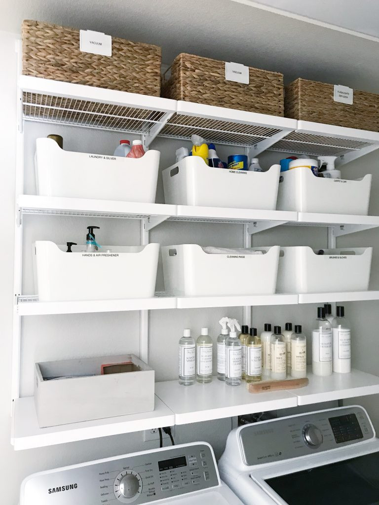 Best ideas about Diy Laundry Room Shelves . Save or Pin Simple DIY Updated Shelving for a Small Laundry Room Now.