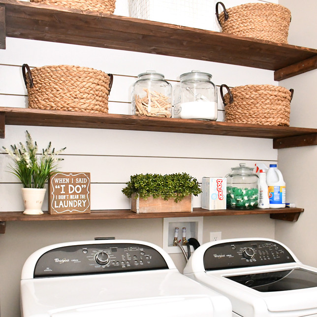 Best ideas about Diy Laundry Room Shelves . Save or Pin Laundry Room Shiplap and DIY Wood Shelves Easy Tutorial Now.