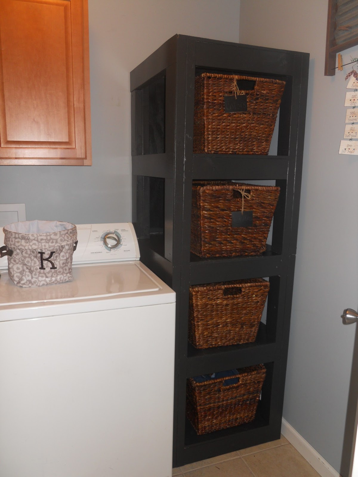 Best ideas about Diy Laundry Room Shelves . Save or Pin My Adventures in Treasure Hunting DIY Laundry Basket Shelf Now.