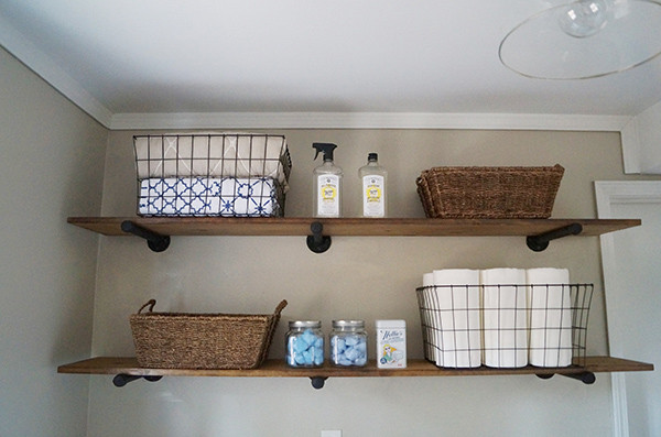 Best ideas about Diy Laundry Room Shelves . Save or Pin DIY Laundry Room Storage Ideas Pipe Shelving Now.