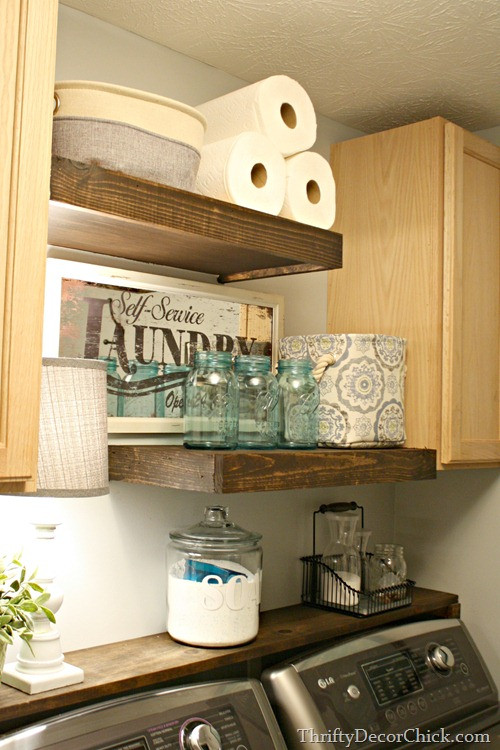 Best ideas about Diy Laundry Room Shelves . Save or Pin DIY Wood Shelving Laundry Storage from Thrifty Decor Chick Now.