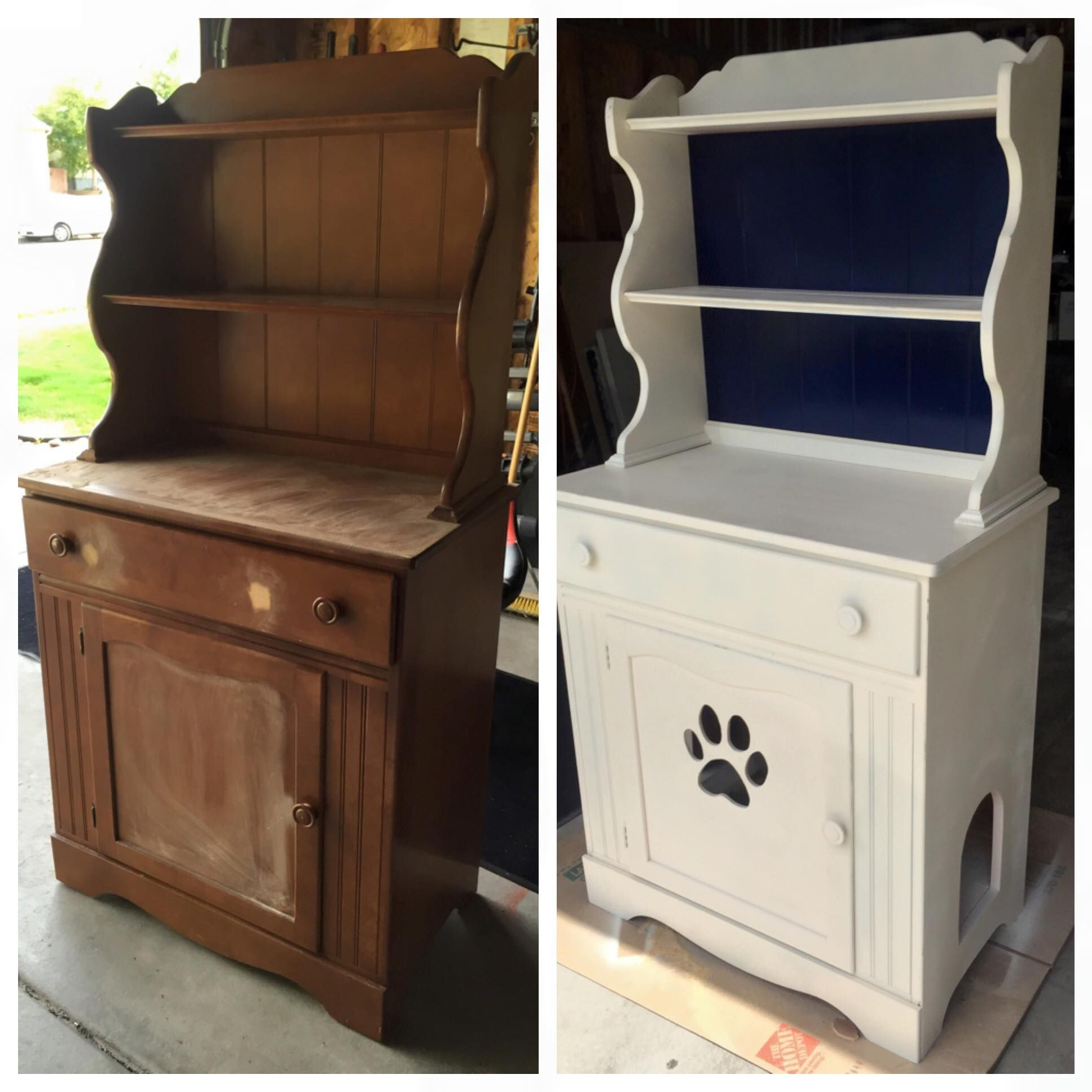 Best ideas about DIY Litter Box Enclosure . Save or Pin DIY Refurbished a cabinet to hide the cat litter box Now.