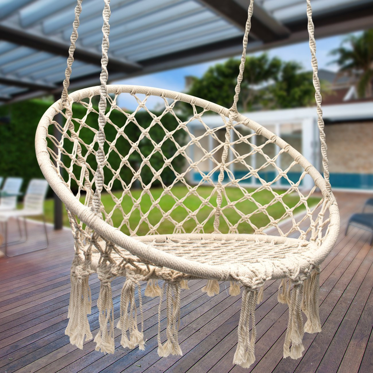 Best ideas about DIY Macrame Hanging Chair . Save or Pin DIY Hanging Macrame Chair Now.