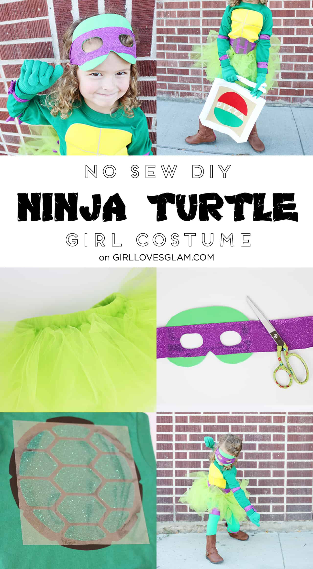 Best ideas about DIY Ninja Turtle Mask . Save or Pin DIY No Sew Ninja Turtle Costume for Girls Girl Loves Glam Now.