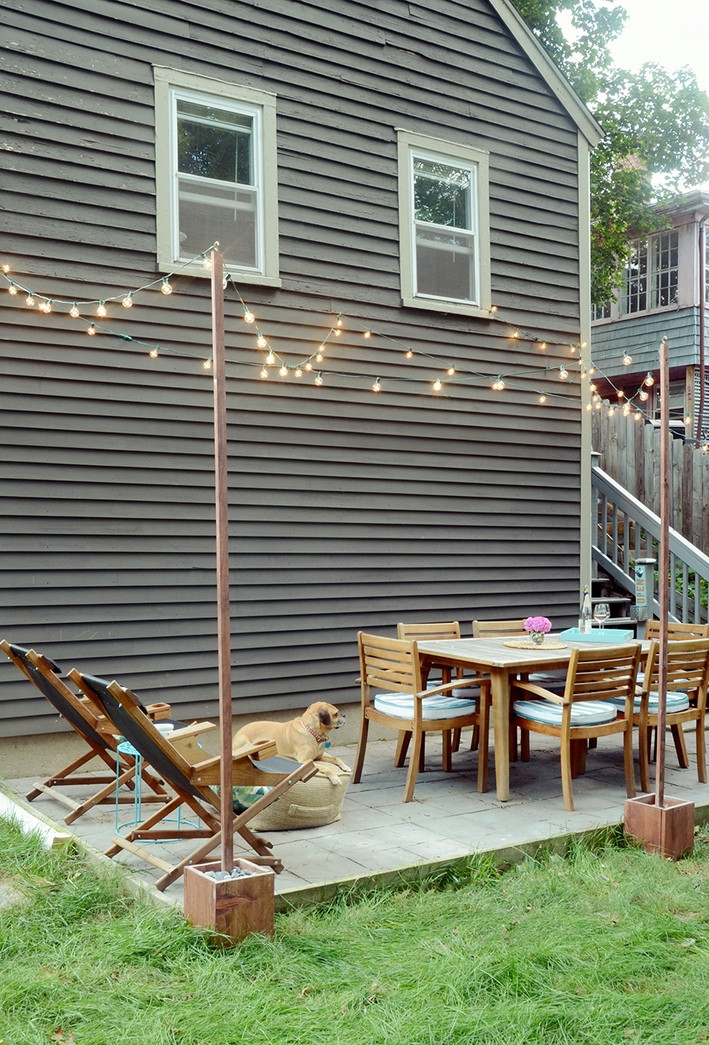 Best ideas about DIY Outdoor Patios . Save or Pin DIY Outdoor Bistro Light Stands For Your Patio Now.