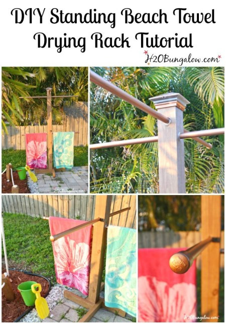 Best ideas about DIY Outdoor Towel Rack . Save or Pin DIY Outdoor Standing Towel Rack H20Bungalow Now.